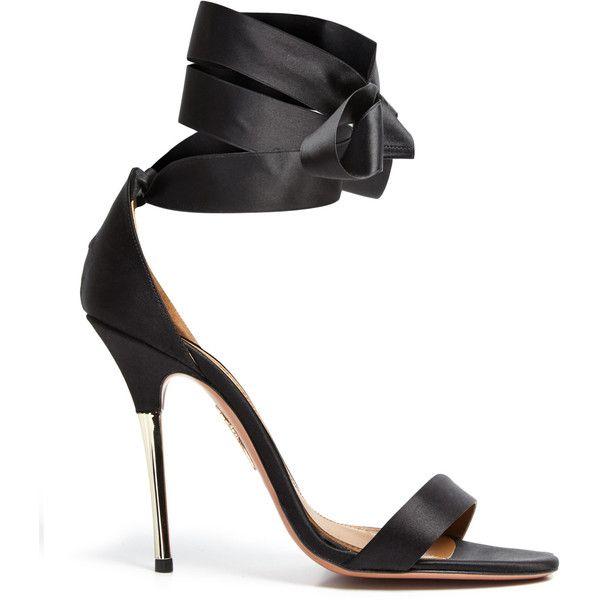 Aquazzura Tie me up Satin Gold High Heeled Sandals ($305