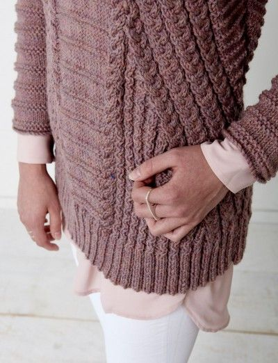 Patons Directional Cables Sweater Free Knitting Pattern ...