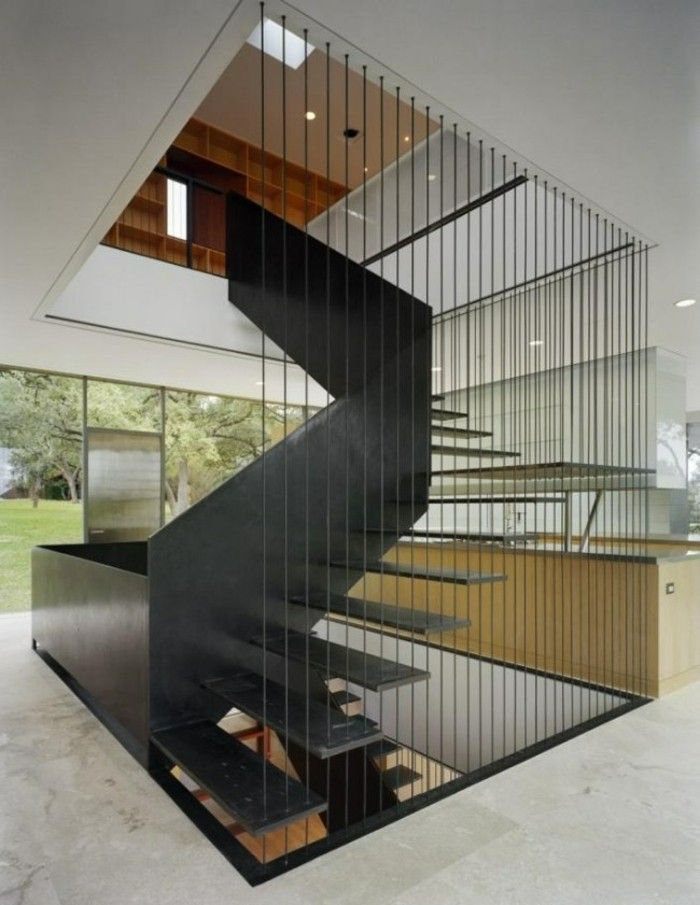 escalera y barandilla de acero negro …  Pinterest