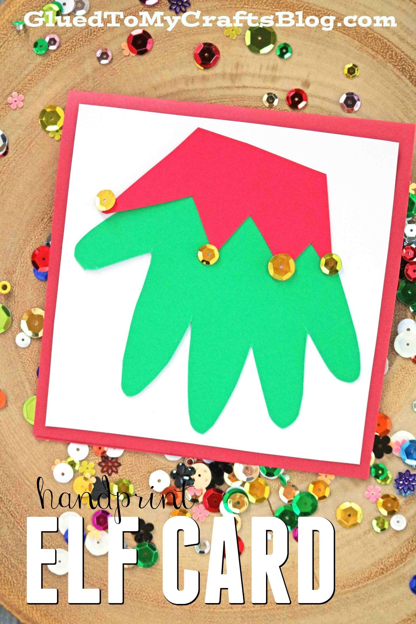 Santa u elf handprint christmas cards kid craft keepsakes elves