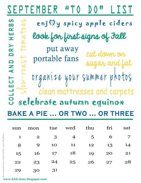 September To Do List And 2013 Calendar Free Printable September