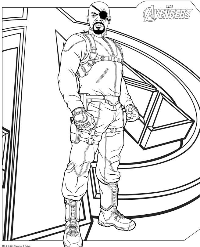 coloriage nick fury avengers - Avengers Coloriage