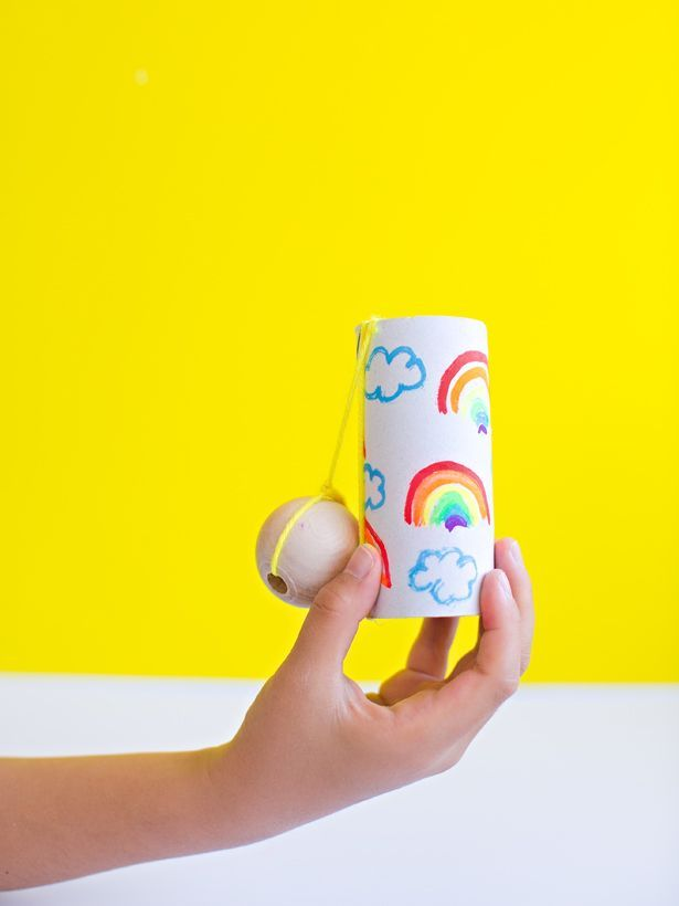 Fun Kids Craft Ideas Part - 39: DIY Paper Tube Ball And Cup Game. Easy And Fun Recycled Craft For Kids.