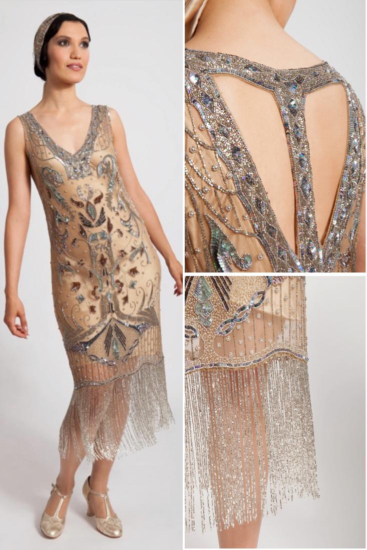 Art Deco Flapper Gown Silver Fringe Flapper Dress 1920s Dress Vintage Flapper Dress 1920s Flapper Dress Fringe Flapper Dress