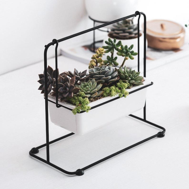 Ceramic Succulent Flower Planter Pot Iron Pot Shelf Stand Garden Hanging Decor