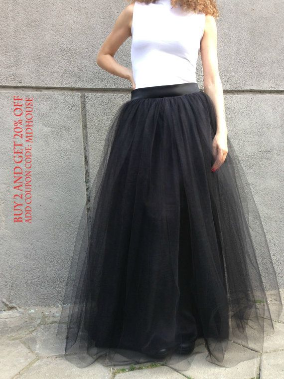 15bf3a988c909 Black Long Tulle Skirt