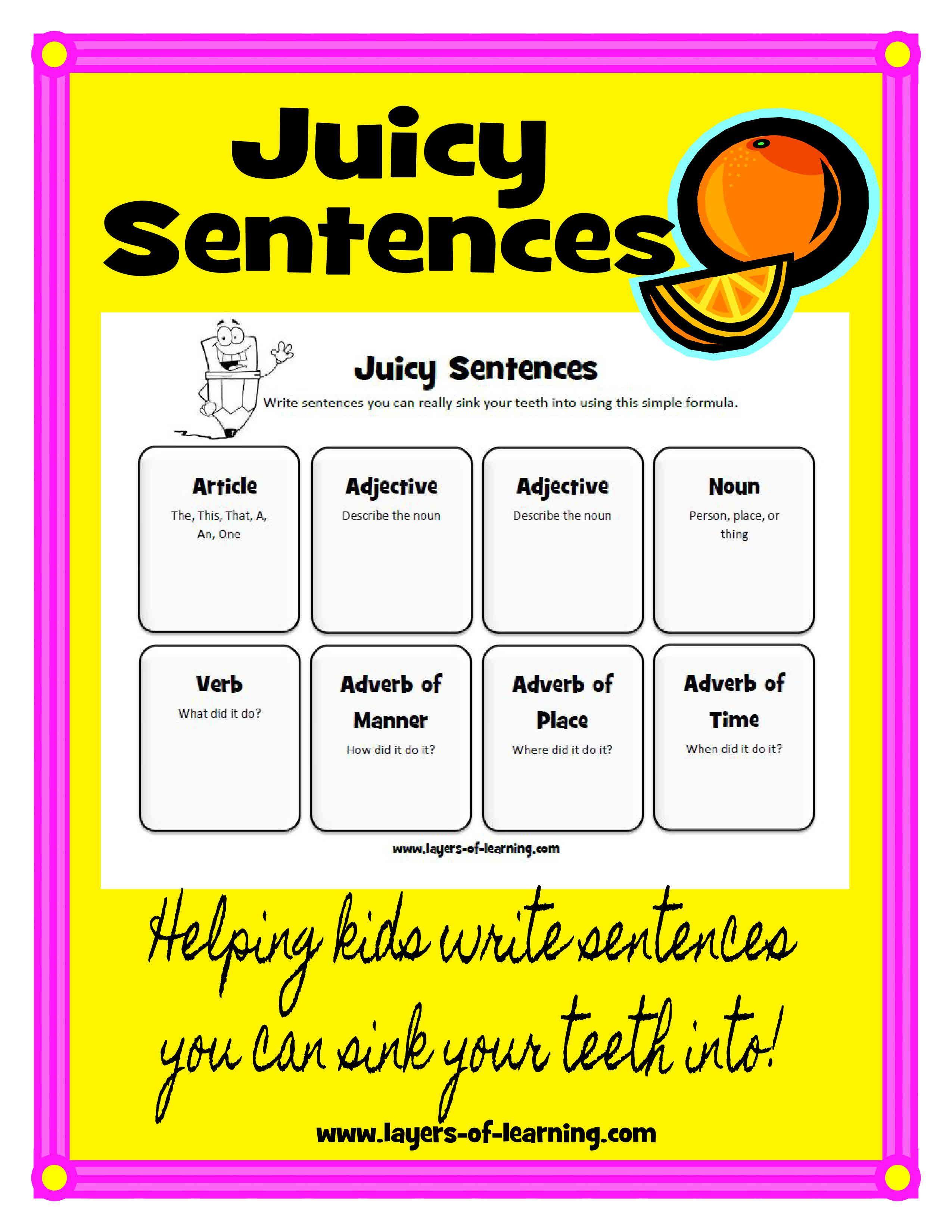 Descriptive Writing With Juicy Sentences Layers Of Learning Descriptive Writing Writing Mini Lessons Teaching Writing