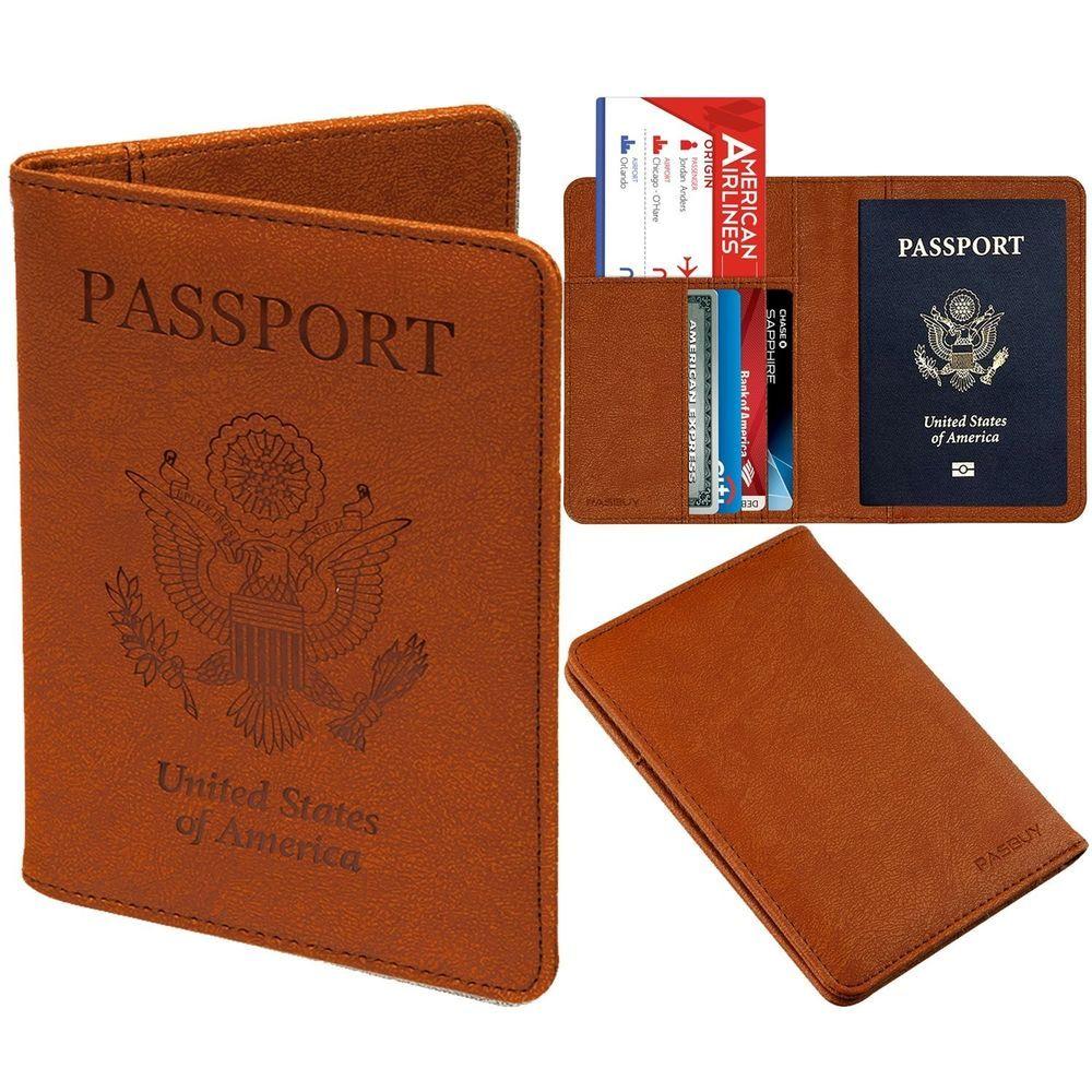 85978027d515 PASBUY P7086 PU Leather Passport Holder Case Protective RFID ...
