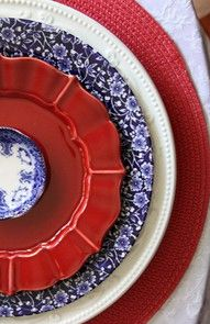Red, white, and blue place setting. <3
