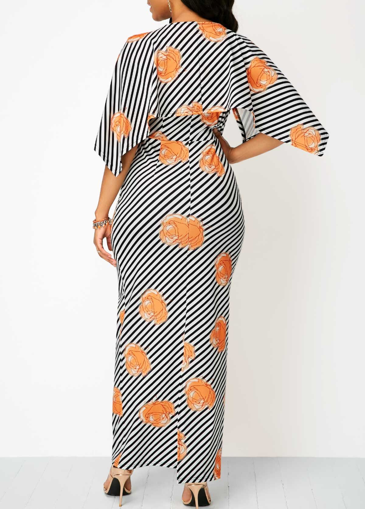 7e8c9f25328 Half Sleeve Striped V Neck Maxi Dress on sale only US 34.90 now