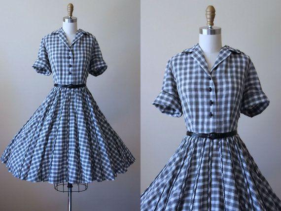 50s Dress  Vintage 1950s Dress  Black Plaid Cotton by jumblelaya