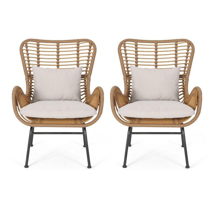 Bungalow Rose Tarnowski Wicker Patio Chair With Cushions Reviews Wayfair In 2020 Wicker Patio Chairs Outdoor Wicker Furniture Outdoor Wicker