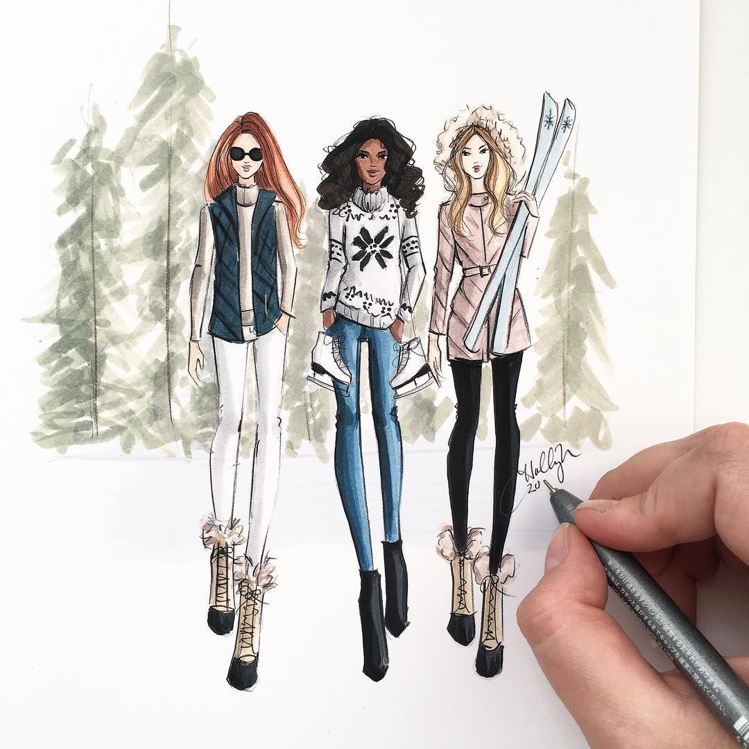 """Sending out some glampers  #fashionsketch #fashionillustration…"