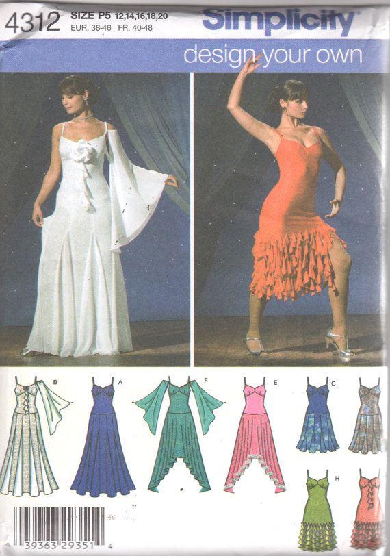 Simplicity 4312 Misses Dance Dress Costume Pattern Flamenco Salsa ...