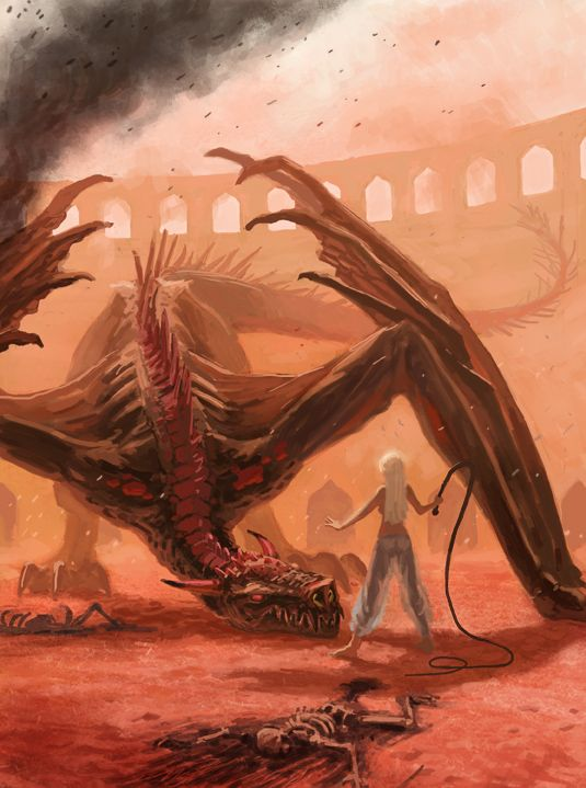 Daznak's Pit, Dany grows tired of her Tokar and teaches Drogon a lesson