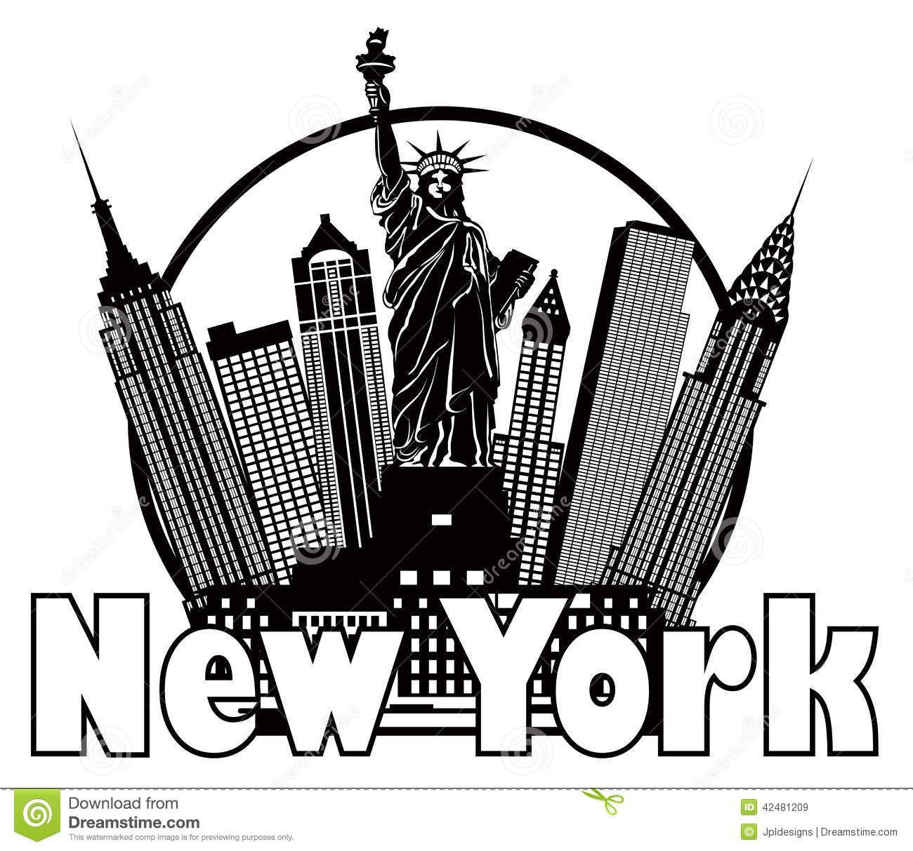 New York City Skyline Black And White Circle Vector
