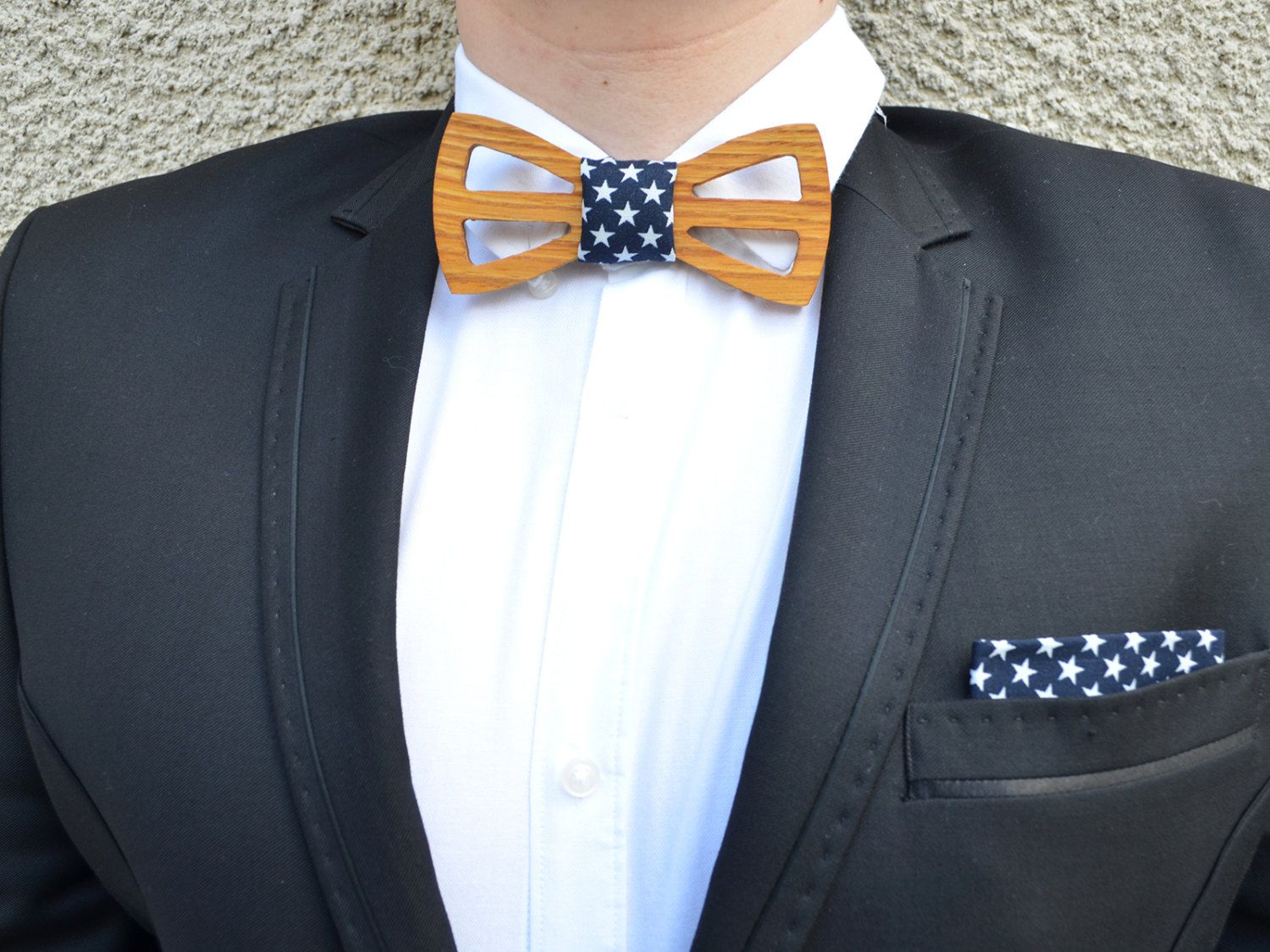 Clear leather Handmade bow tie Wood Men wooden wedding