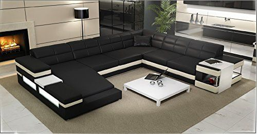 This Large Black White Leather Contemporary Sectional Is Hand