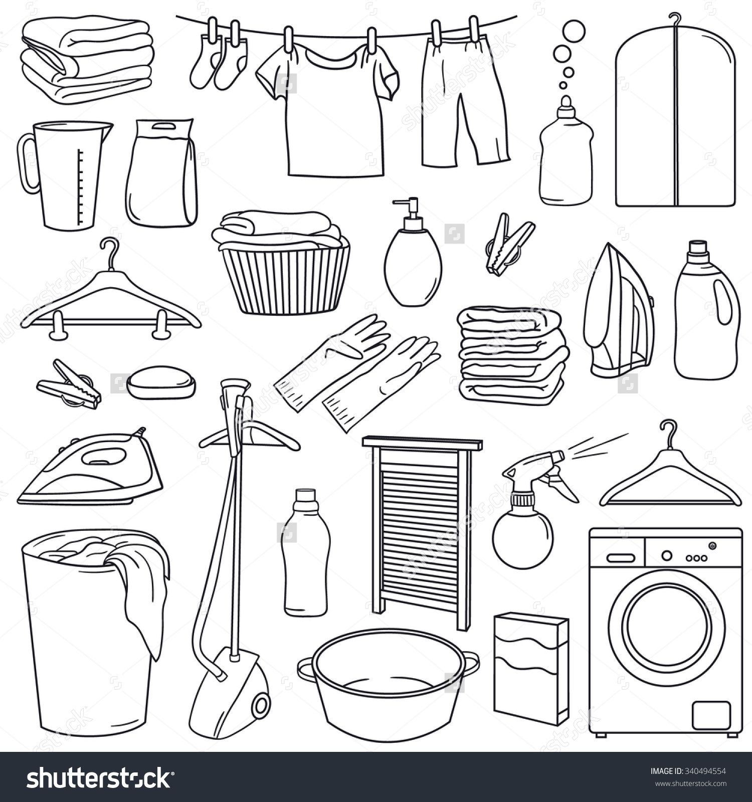 Image result for washing clothes doodle