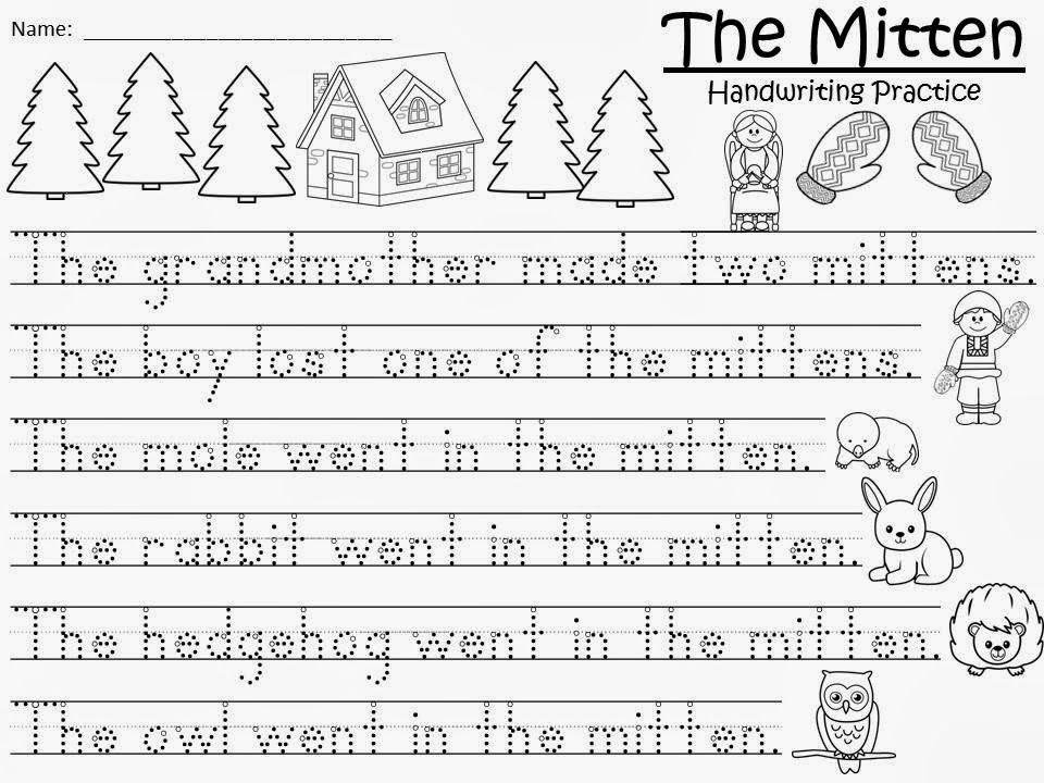 free the mitten handwriting and story retelling sheets free for a teacher from a teacher. Black Bedroom Furniture Sets. Home Design Ideas