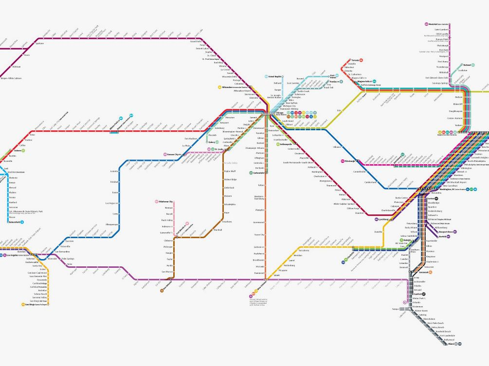 Amtraks Massive Network Looks Way Better As A Subway Map - Amtrak map of routes in us