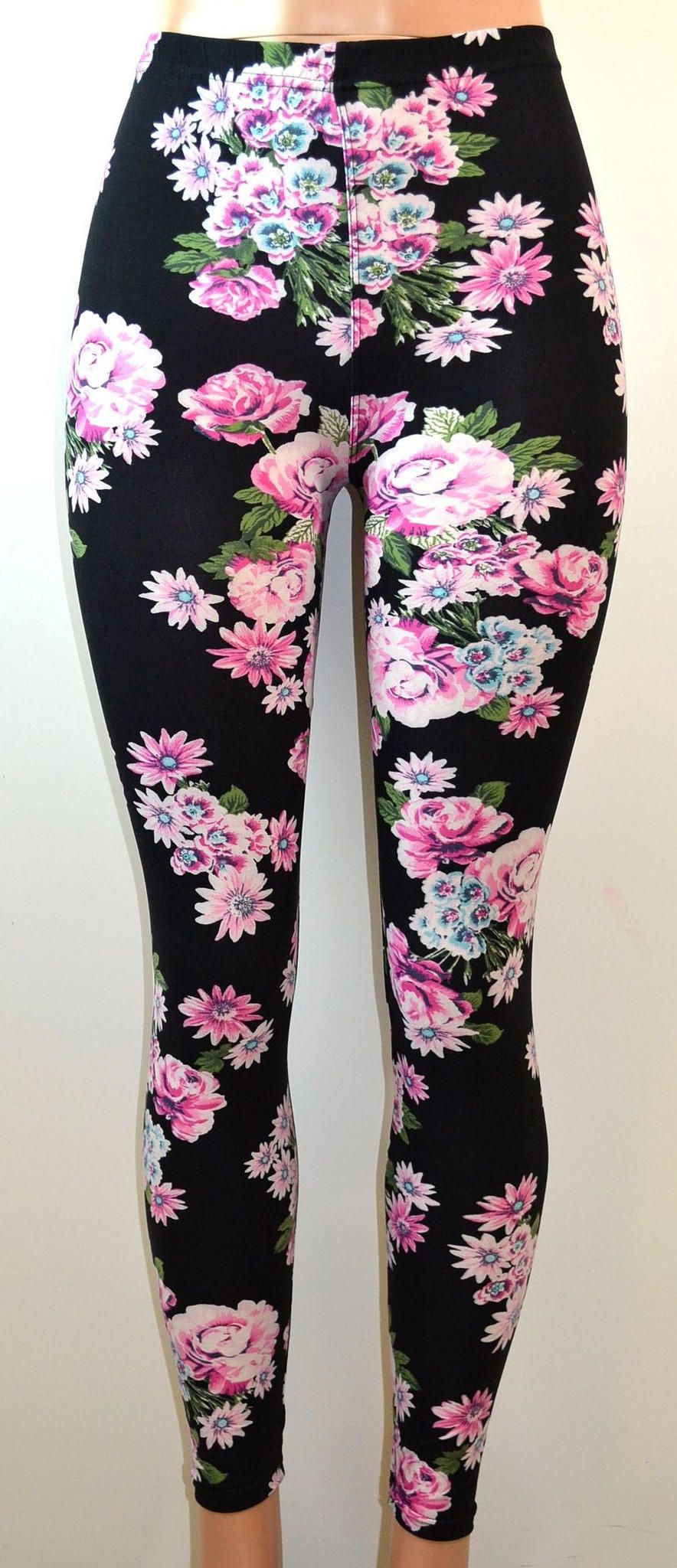 Euk all over floral print stretch leggings fashion u jewelry