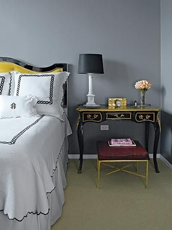Yellow Gray And Black Love The Tufted Mirrored Headboard Marriage Of Masculine Feminine Sasha Adler We Used Benjamin Moore Whale