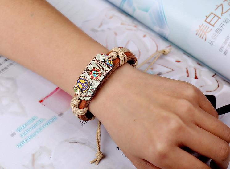 Genuine Leather Heat Transfer Peace Sign Weave In Hand Bracelet Hand Bracelet Handmade Bracelets Bracelets For Men