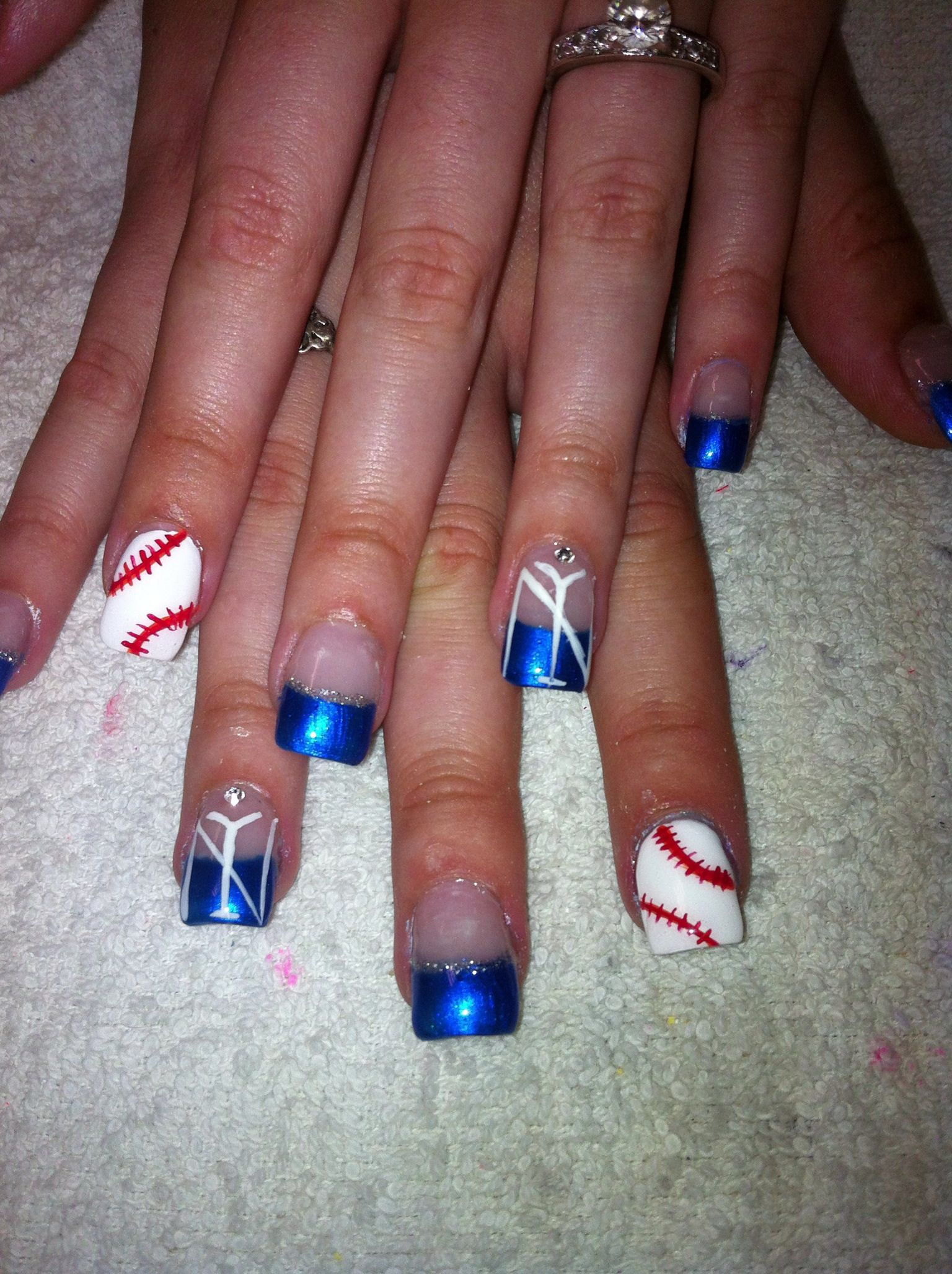 New York Yankee baseball designed nails. | Nail Designs | Pinterest ...