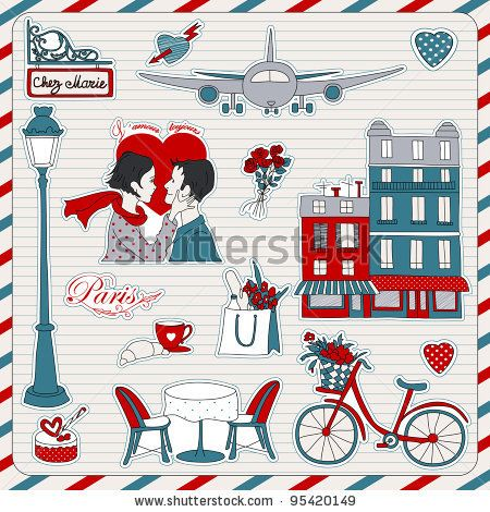 Set of the doodle sketches. Paris travel icons. - stock vector