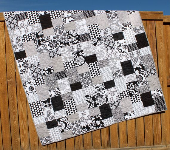 Black & White Lap Quilt Mystique Gray Blanket by JennyMsQuilts, $240.00