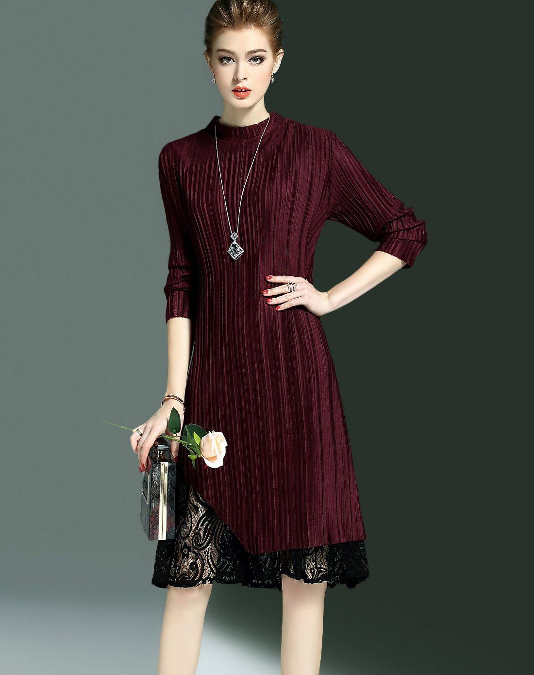 Vipme pleated lace paneled sleeve wine midi dress get more