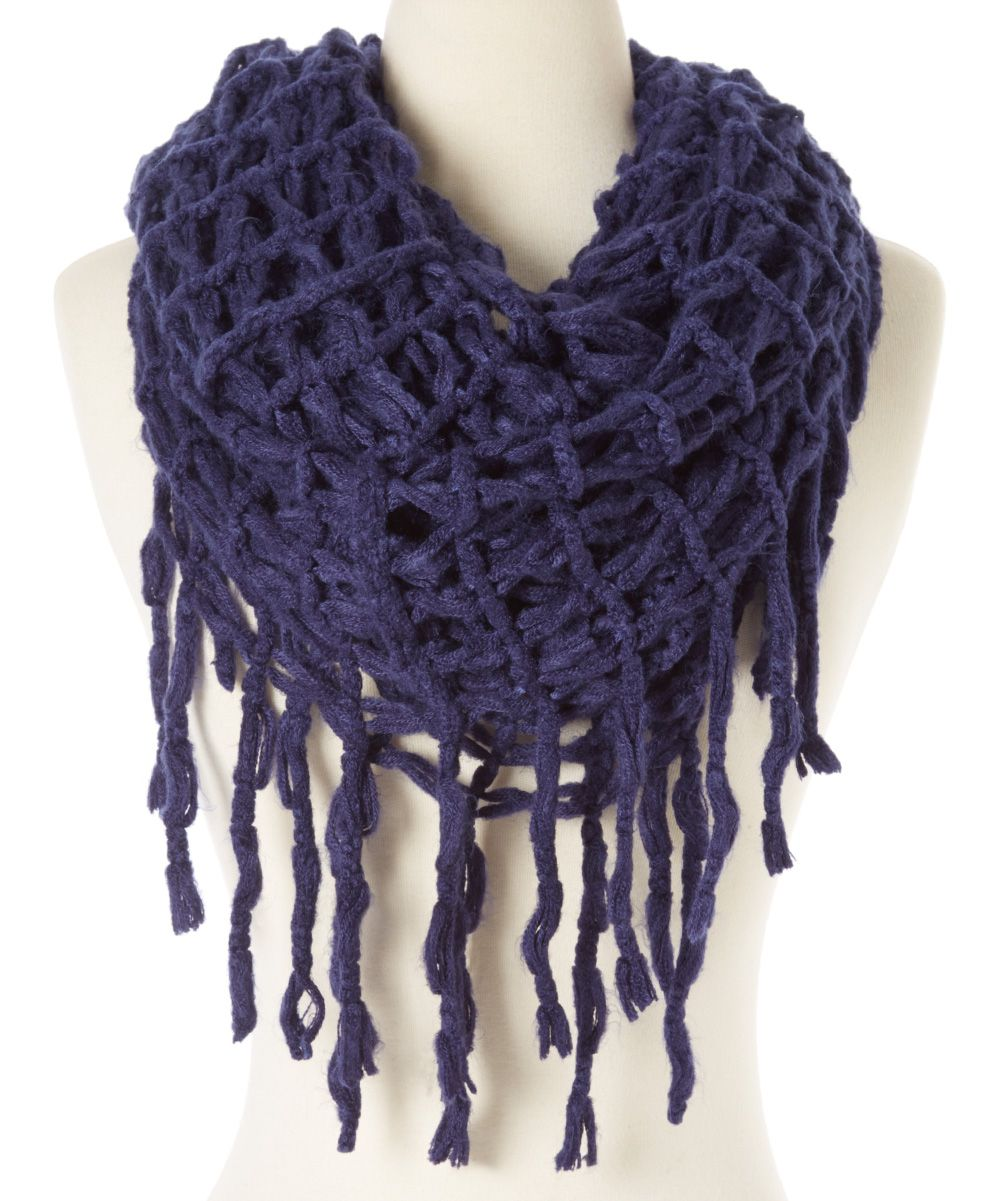 Navy Loose-Knit Fringe Rag-A-Muffin Infinity Scarf   zulily - knots ...