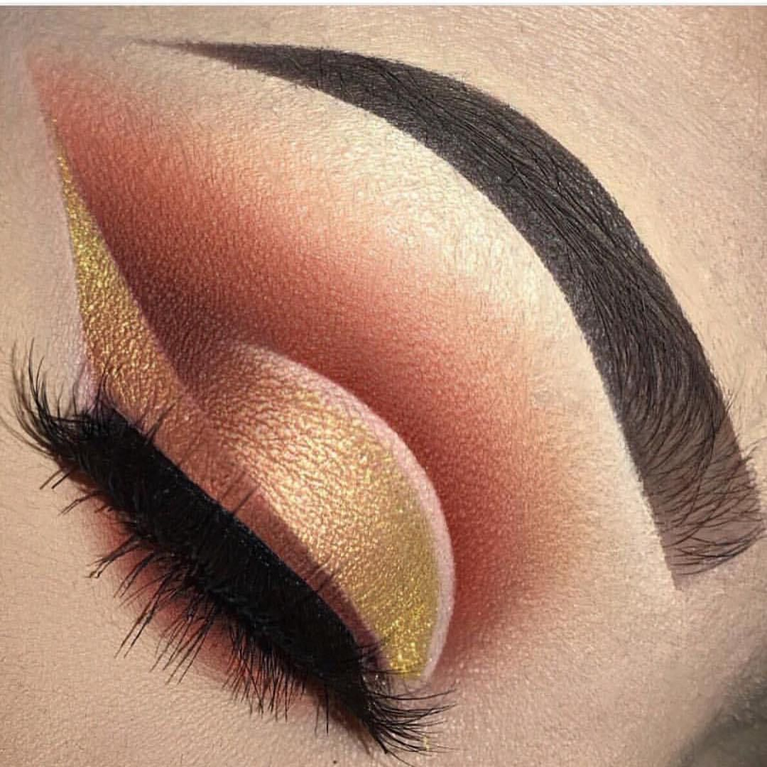 Gold and pink eye makeup
