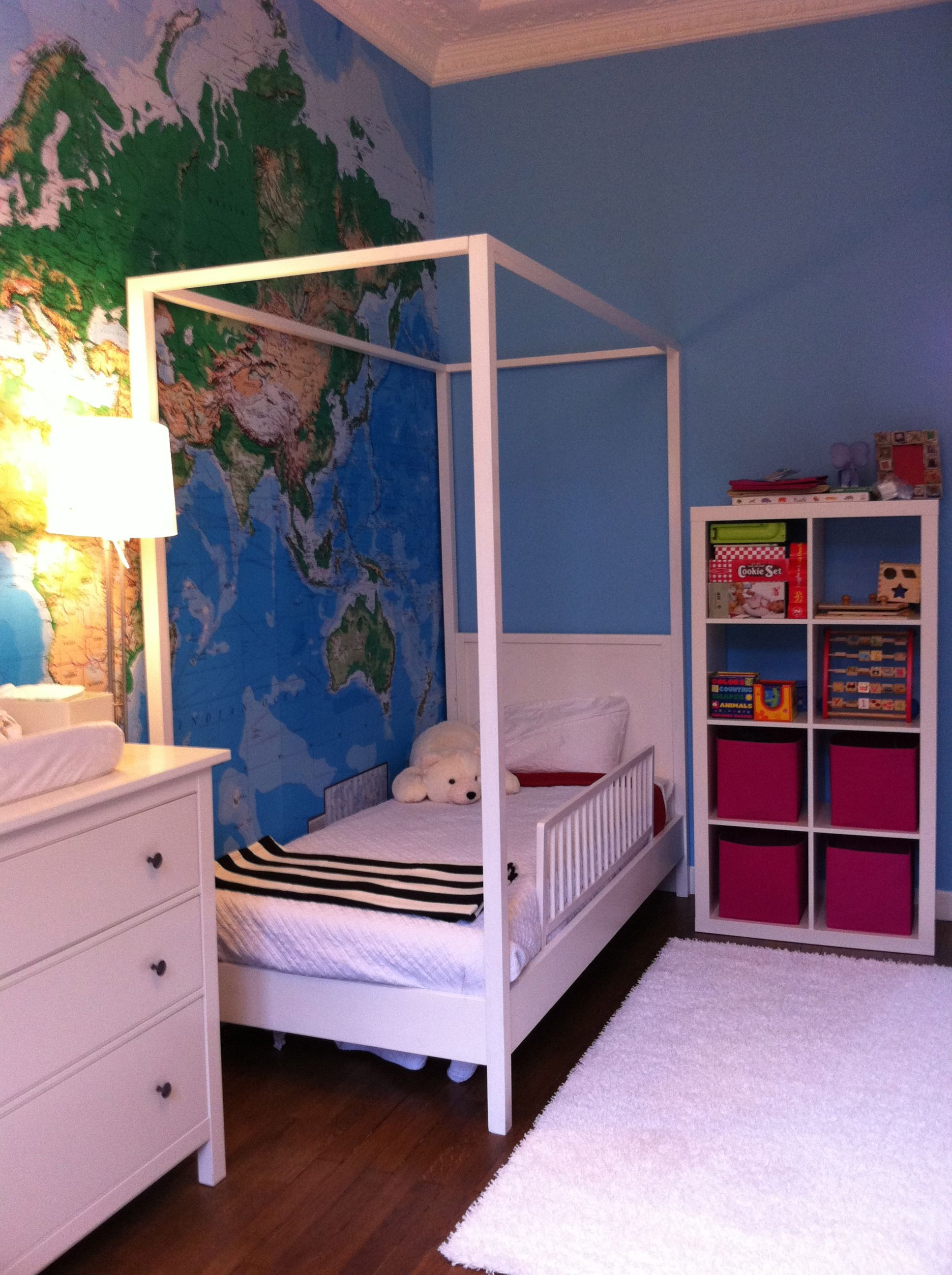 Four poster bed pink toy box map wall stripe blanket love this four poster bed pink toy box map wall stripe blanket love this gumiabroncs Choice Image