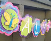 Girl Name Butterfly Flower Diecut Party Decoration, Happy First Birthday, Happy Birthday Banner