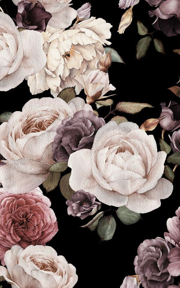 Photo of Purple and pink dark flowers wallpaper | Murals wallpaper,  #Dark #Flowers #Murals , Pink hom…