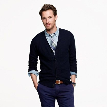 Men's Black Cardigan, Blue Denim Shirt, Navy Chinos, Blue Plaid ...