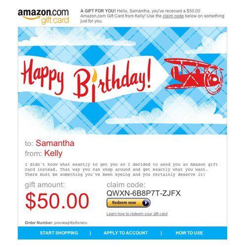 Amazon Gift Card E Mail Happy Birthday Airplanes 50 00 Best Amazon Gifts Amazon Gifts Amazon Gift Cards