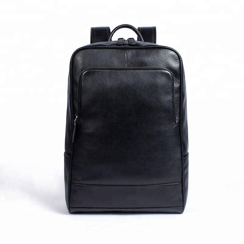 Mens Genuine Leather Laptop Backpack Large Capacity Casual Waterproof Bag