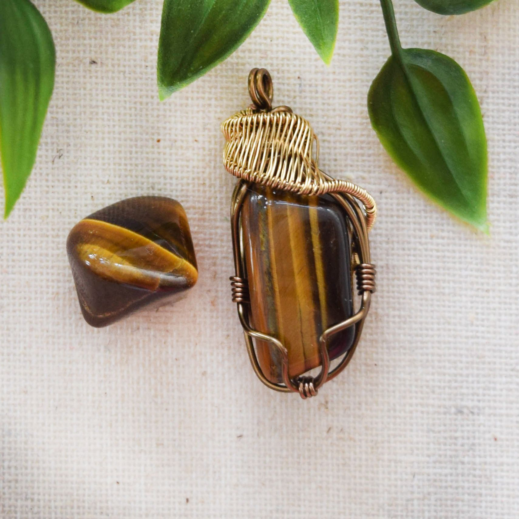 GOLD TIGER/'S EYE Healing Crystal Necklace