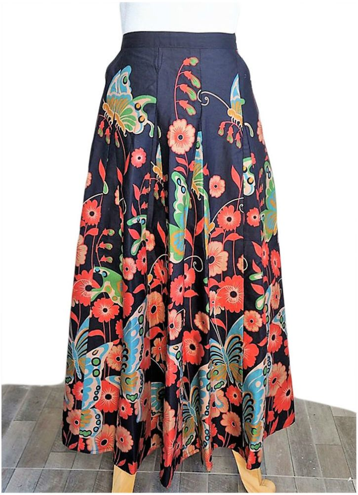 Full-length Thai Cotton Skirt with Floral Butterfly Pattern