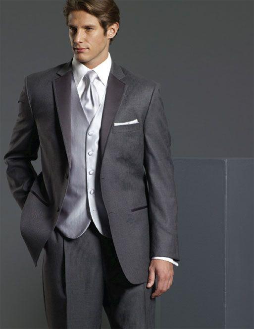 Dark gray wedding tuxdeo with long ties home tuxedos for Tuxedo house