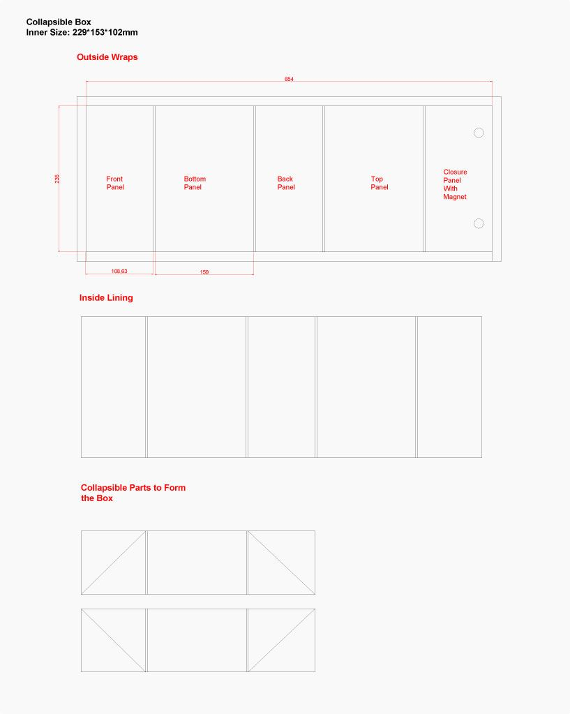 Free Dieline Template For The Collapsible Rigid Box