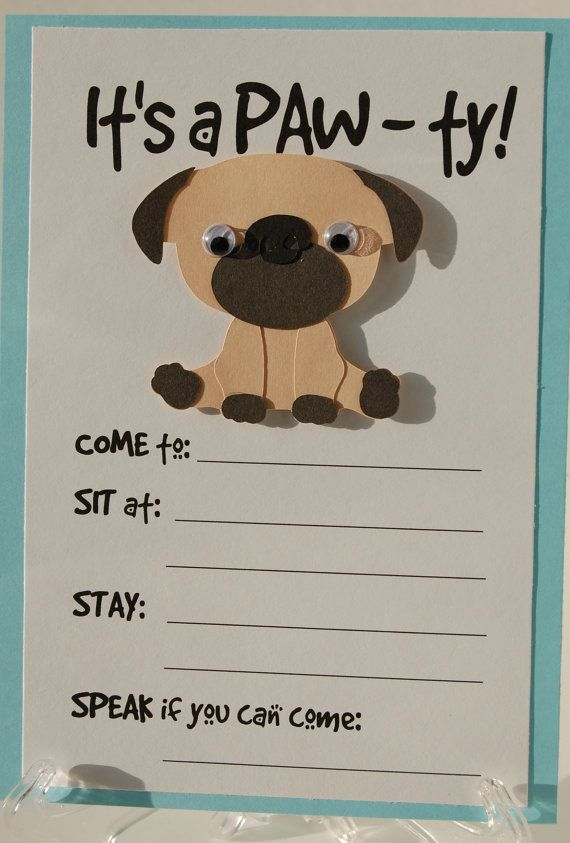 pug party invitation, puppy birthday invites, dog party invites, Party invitations