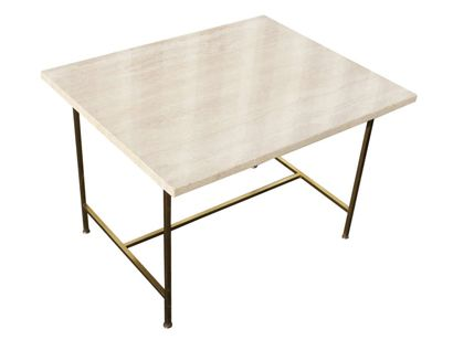 Machine Age | Travertine and Brass Side Table by Paul McCobb
