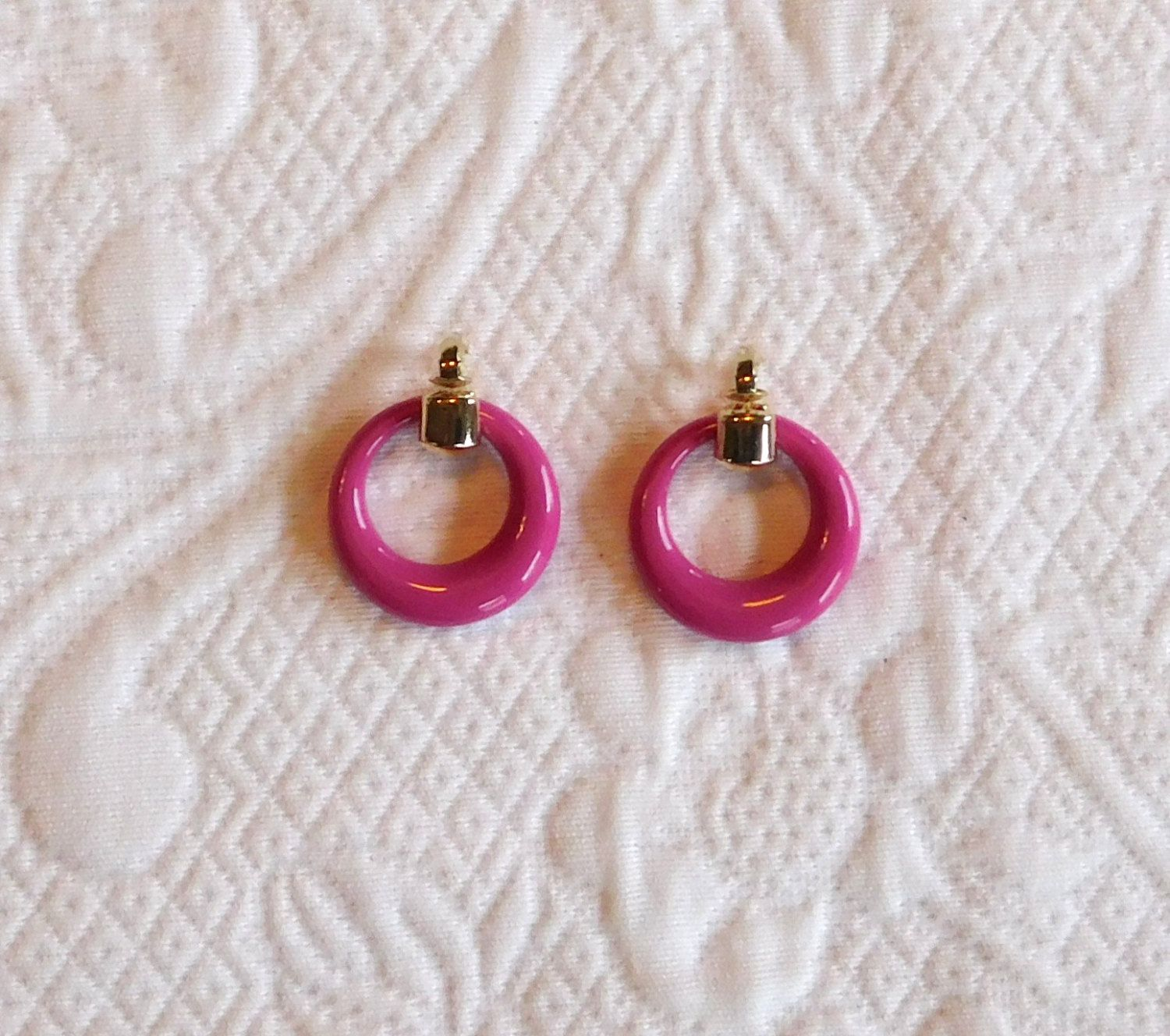 Pink Clip On Earrings Gold Accent Hoop Earrings 80s Jewelry 80s Earrings by LandofBridget on Etsy