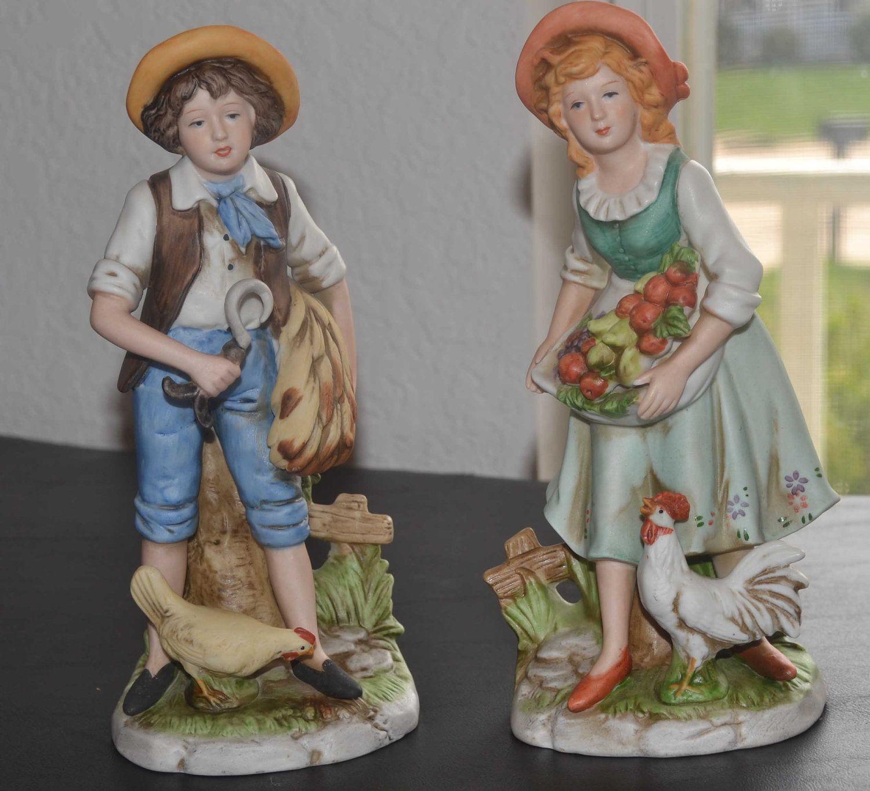 Vintage Porcelain Homco Farm Couple Figurines By Sisters3boutique