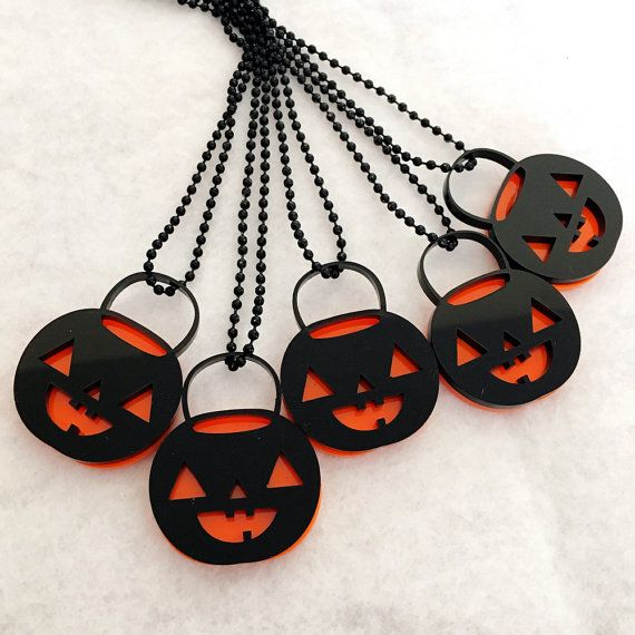 Pumpkin Pail Necklace - Jack O Lantern Halloween Acrylic Charm with Chain