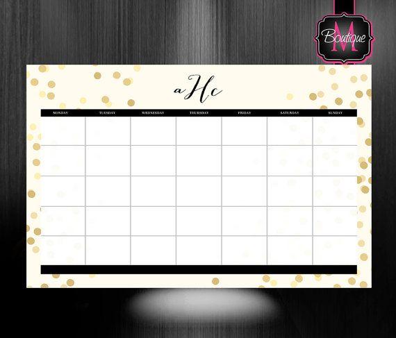 $38.99 Monogrammed Desk Calendar   Personalized Desk Calendar   Planner   Custom  Calendar   Monthly Desk